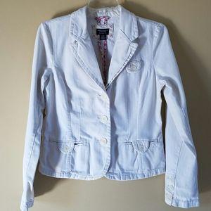 AEO/white cropped jean jacket